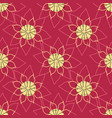 floral lines lotus flower outline on red vector image vector image
