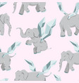 flying elephants with wings seamless pattern vector image
