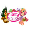 font design for word fairy princess with mermaid vector image