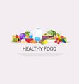 fresh fruits vegetables plant based milk raw vector image