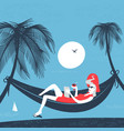 girl in a hammock on the beach vector image vector image