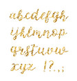 golden glitter alphabet brush glowing font vector image vector image