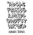 graffiti font 3d- hand written - alphabet vector image vector image