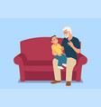 grandfather and his grandson sitting on sofa vector image