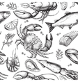 hand drawn seafood pattern Vintage vector image vector image