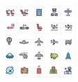 icon set - airplane and airport full color vector image vector image