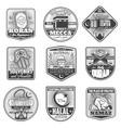 icons of islam religious symbols vector image