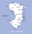 island of chios in greece white map and blue vector image vector image