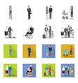 isolated object of character and avatar icon set vector image vector image