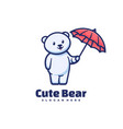 logo cute bear simple mascot style vector image