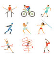 men and women doing various kinds sports sport vector image vector image