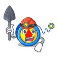 miner yoyo mascot cartoon style vector image vector image