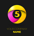 number five logo symbol in colorful circle vector image vector image