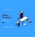office at home isometric landing page workplace vector image vector image