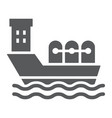 oil tanker glyph icon industrial and boat oil vector image vector image