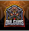 owl gunners esport mascot logo design vector image vector image