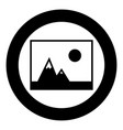 picture of mountains and sun icon the black color vector image vector image