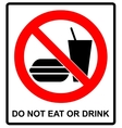 Prohibition Signs for Eating and Drinking vector image vector image