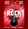 red rock festival concert poster with guitar vector image vector image