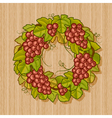 Retro grapes wreath vector image vector image