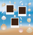 Sea Shell and Frame Hanging Mobile Blur Background vector image vector image