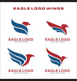 set eagle logo symbol vector image