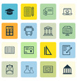 set of 16 school icons includes paper haversack vector image vector image