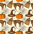 Sketch Halloween pattern vector image