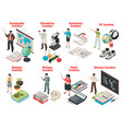 teachers and school isometric set vector image vector image