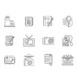 Thin line style journalism icons vector image vector image