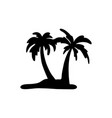 two silhouette coconut tree sketch vector image