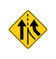 usa traffic road signs added lane ahead vector image vector image