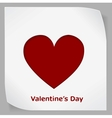 Valentines Day paper sticker with red heart vector image vector image