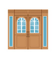 vintage double wooden doors closed elegant front vector image vector image