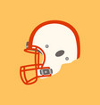 white football helmet flat styleprofile vector image vector image