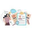 woman character manager choosing work candidate vector image