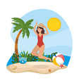woman jumping with hat and wearing swimsuit with vector image vector image