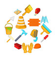 working tools icons set cartoon style vector image
