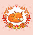 greeting card with a fox vector image