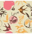 Vintage Love Swallow Birds Pattern vector image