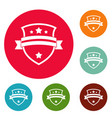 badge knight icons circle set vector image vector image