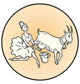 ballerina milking a goat farm animals vector image