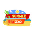 big summer sale label tropical beach palm trees vector image vector image