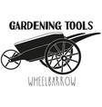 black and white wheelbarrow silhouette vector image vector image