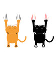 cartoon black and orange cat set back view red vector image vector image