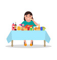 cartoon fat woman at the table vector image vector image