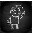 Cartoon Man Pointing Drawing on a Chalk Board vector image vector image