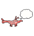 cartoon shrimp with thought bubble vector image