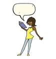 cartoon woman reading book with speech bubble vector image