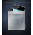 cell phone in a pocket jeans vector image vector image